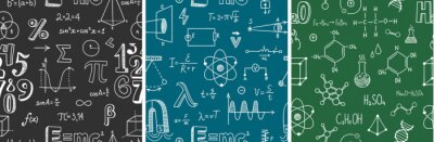 Naklejka Seamless pattern with school subjects - math, physics, chemistry. Blackboard inscribed with scientific formulas. Back to school background set. Chalk doodle style. Vector illustration