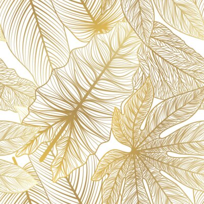 Naklejka Seamless pattern with tropical leaf palm . Vector illustration.