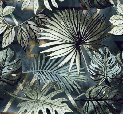 Naklejka Seamless pattern with tropical leaves and  geometric shapes. Tropical  background.