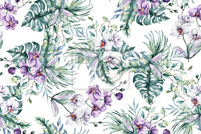 Seamless pattern with watercolor flowers, tropical flowers orchids and leaves for design wedding invitation, greeting, wallpaper, fashion, background, texture, wrapper etc. Hand painting.