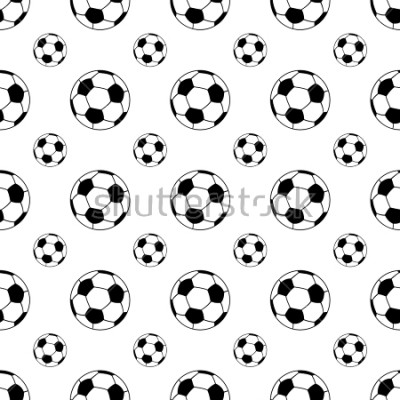 Naklejka Seamless patterns from a soccer ball. Black and white. Vector illustration.