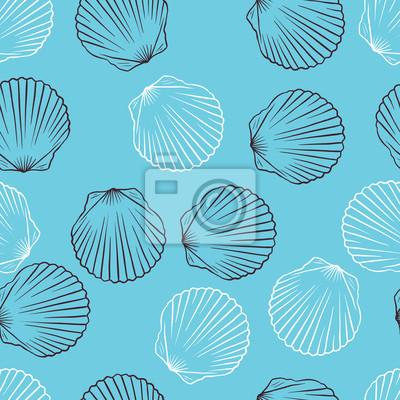 Seamless ręcznie rysowane tekstury muszli. Ilustracji wektorowych.