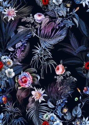 Naklejka Seamless tropical flower pattern, watercolor.Flowers pattern. for textile, wallpaper, pattern fills, covers, surface, print, gift wrap, scarf, decoupage. Seamless pattern