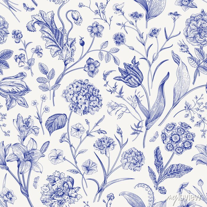 Naklejka Seamless vector floral pattern. Classic illustration. Toile de Jouy