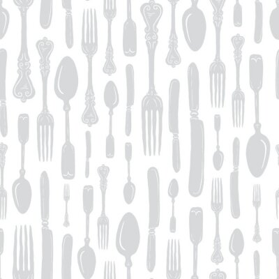 Naklejka Seamless Vintage Heirloom Silverware - Fork, Spoon, Knife - Vector Repeat Pattern in Subtle Gray on Light Background