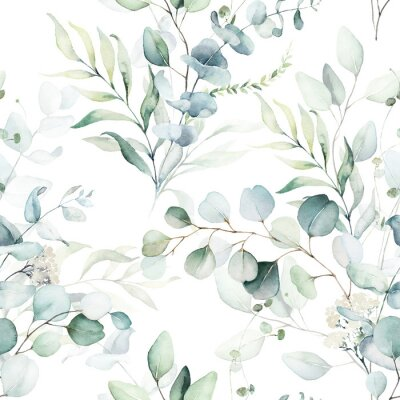 Naklejka Seamless watercolor floral pattern - green leaves and branches composition on white background, perfect for wrappers, wallpapers, postcards, greeting cards, wedding invitations, romantic events.