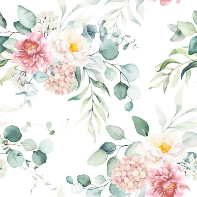 Naklejka Seamless watercolor floral pattern with pink & peach cream flowers, leaves composition on white background, perfect for wrappers, wallpapers, postcards, greeting cards, wedding invitations, events.