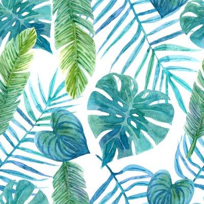 Naklejka Seamless watercolor pattern of tropical leaves