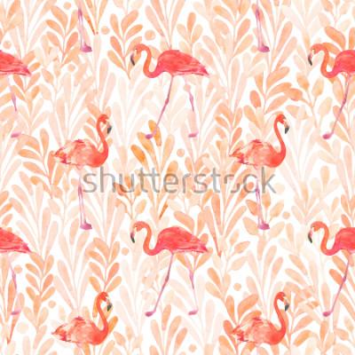 Naklejka Seamless watercolor pattern with a bird flamingo. Beautiful pink bird. Tropical flamingo.