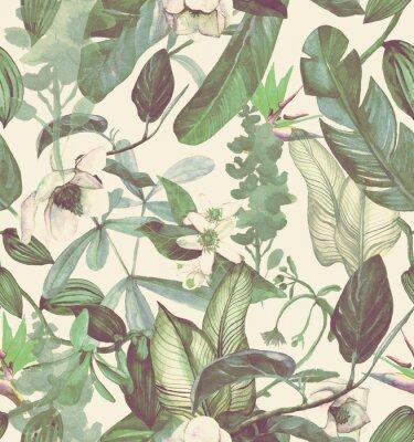 Naklejka Seamless watercolor pattern with tropical flowers, magnolia, orange flower, vanilla orchid, tropical leaves, banana leaves