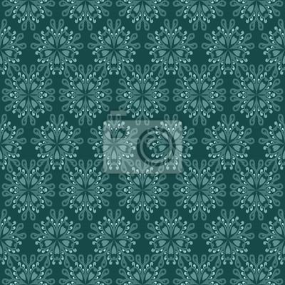 secesyjny zielony kwiatowy wzór mozaiki oświetlony motyw