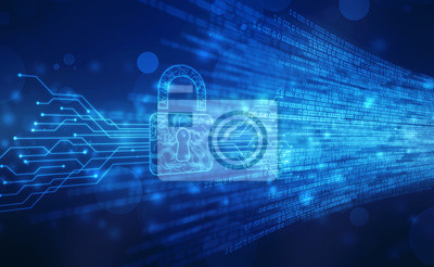 Naklejka Security concept background , Closed Padlock on digital background, cyber security, Blue abstract hi speed internet technology background illustration
