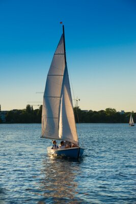 Naklejka Segelboot, Blaue Stunde