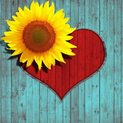 Naklejka Serce kwiat słonecznika tle drewna i turkus