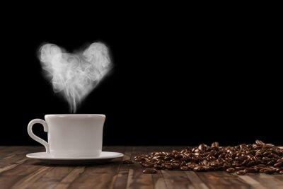 Naklejka Serce pary przy kawie