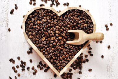 Naklejka Serce z ziaren kawy