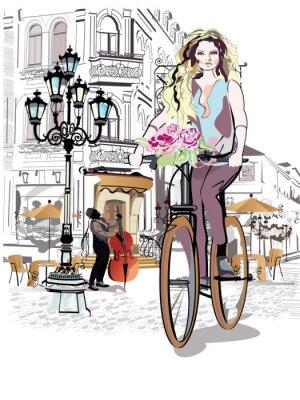 Naklejka Seria ulic z ludźmi i muzyków w starym mieście