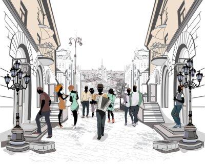 Naklejka Seria ulic z ludźmi w starej części miasta.