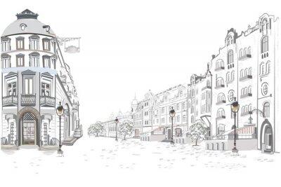 Naklejka Serie uliczni widoki w starym mieście. Ręcznie rysowane wektor architektoniczne tło z zabytkowymi budynkami.