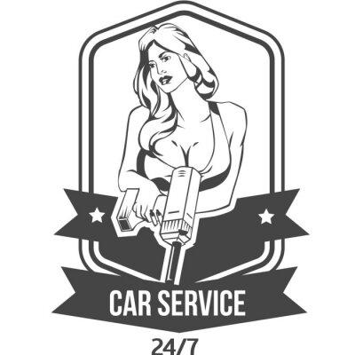 Naklejka Serwis samochodowy retro odznaki z sexy kobieta trzyma wiertło