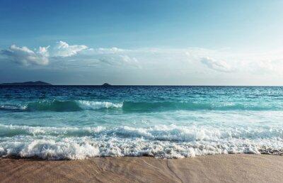 Naklejka Seszele plaży w czasie zachodu słońca