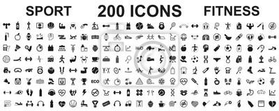 Naklejka Set 200 isolated icons spotr - fitness. Fitness exercise, sport workout training illustration – stock vector
