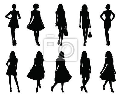 Naklejka Set beautiful fashion girl silhouette on a white background