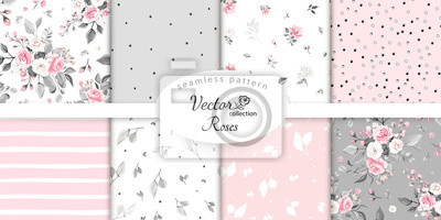 Naklejka set botanic and abstract seamless pattern with flowers and leaves, hand drawn background. collection floral pattern. Tile with Flower rose.
