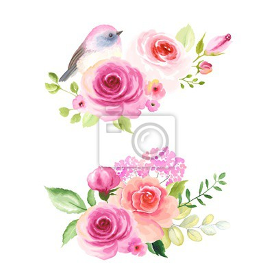 Set decors with roses and lovely small bird, vector illustration in vintage watercolor style.