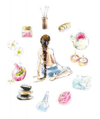 Naklejka Set for SPA salon. Watercolor hand drawn illustration.