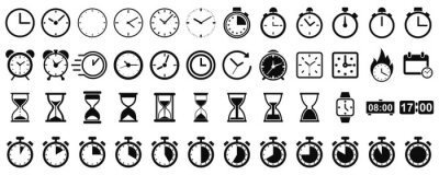 Naklejka Set hourglass icons, sandglass timer, clock flat icon, time management – vector