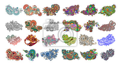 set of 24 paisley flower design, indian ethnic floral pattern isolated on white background