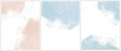 Naklejka Set of 3 Delicate Abstract Watercolor Style Vector Layouts. Light Beige and Blue Paint Stains on a White Background. Pastel Color Stains and Splatter Print Set.