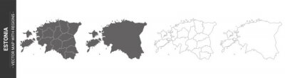 set of 4 political maps of Estonia with regions isolated on white background