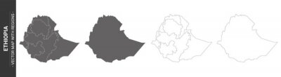 set of 4 political maps of Ethiopia with regions isolated on white background