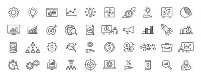 Naklejka Set of 40 Data Proceassing web icons in line style. Graphic, analytics, statistic, network, diagrams, digital. Vector illustration.