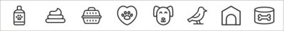 Naklejka set of 8 veterinary thin outline icons such as pet shampoo, poop, pet carrier, veterinary, dog, bird, dog house, dog food