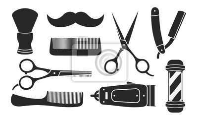 Naklejka Set of 9 barbershop icons isolated on white background. 9 Barbershop and haircuts salon design elements. Vector illustration