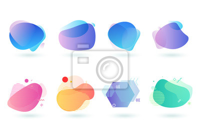 Naklejka Set of abstract graphic design elements. Vector illustrations for logo design, website development, flyer and presentation, background, cover design, isolated on white.