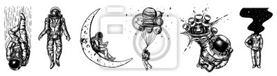 Naklejka Set of Astronauts in the solar system. Spaceman and whale, taking off cosmonaut, planets in space, balloons and the moon. Engraved hand drawn Old sketch in vintage style.