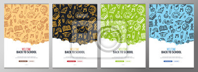 Naklejka Set of Back to School banners with hand draw doodle background. Vector illustration.