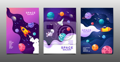 Naklejka set of banner templates. universe. space. space galaxy, design. vector illustration