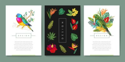 Set of banner templates with embroidered birds, tropical flowers and leaves