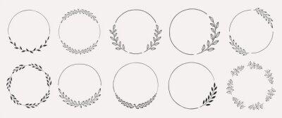 Naklejka Set of black laurels frames branches. Vintage laurel wreaths collection. Hand drawn vector laurel leaves decorative elements. Leaves, swirls, ornate, award, icon. Vector illustration.