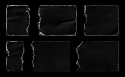 Set of Black Torn Ripped Paper Pieces Edges Cards isolated on Black Background. Cardboard Overlay Texture.