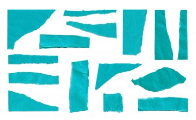 Set of Blue Torn Ripped Paper Pieces Edges isolated on White Background