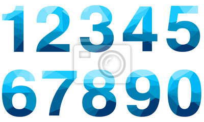 Naklejka Set of blue vector polygon numbers font with long shadow.  Low poly illustration of flat design.
