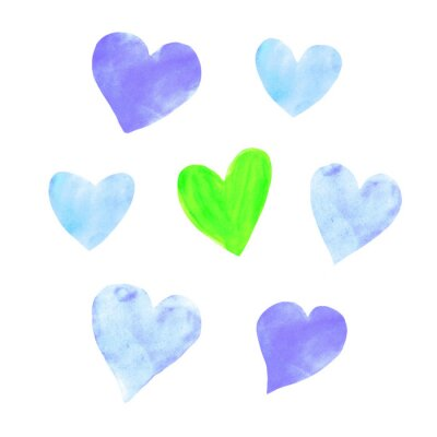 Set of  blue watercolor hearts. Perfect for creating romantic postcards and Valentines Day decor. Hand drawn. Isolated on white background