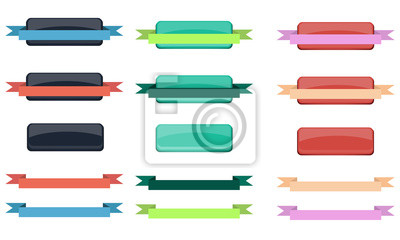 Set of buttons with ribbons for decoration website