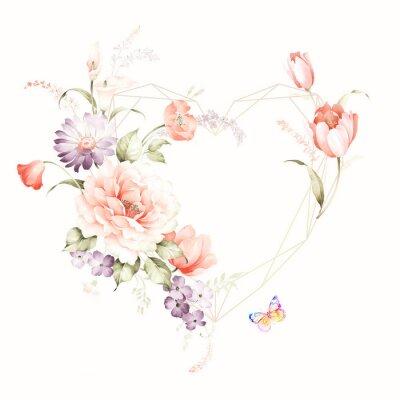 Naklejka Set of card with flower rose, leaves. Wedding ornament concept. Floral poster, invite. Decorative greeting card or invitation design background